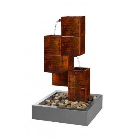 fontaine acier cubique couleur rouille. Black Bedroom Furniture Sets. Home Design Ideas