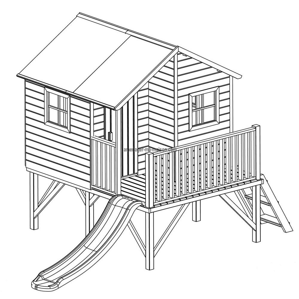 Plan pour maisonnette en bois pour ce qui est de la for Plan de maison pour enfant