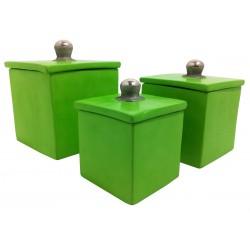 Boîte à coton carrée ensemble vert