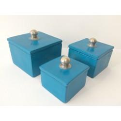 Accessoire sdb rectangulaire ensemble bleu