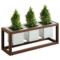 Cache pot en m tal vert anis for Jardiniere avec support