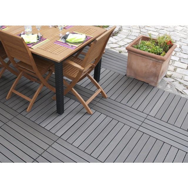 Dalle terrasse clipsable composite gris 30 x 60 - Dalle composite terrasse ...