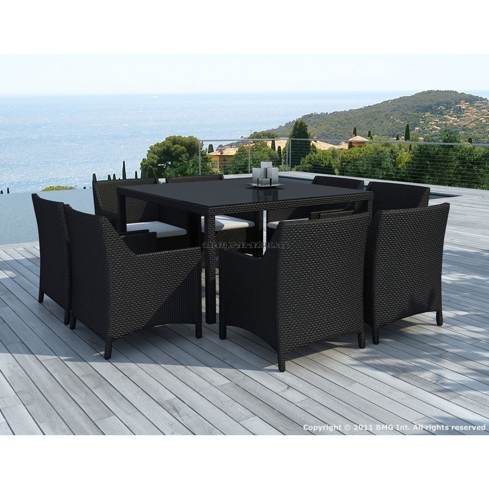 table et fauteuil de jardin en resine tressee jsscene. Black Bedroom Furniture Sets. Home Design Ideas