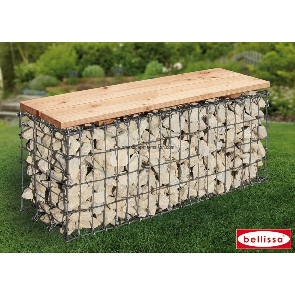 banc en gabion pour jardin. Black Bedroom Furniture Sets. Home Design Ideas