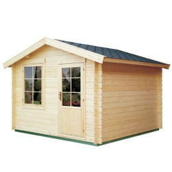 Abri de jardin bois 9 m2 d'épaisseur 28 mm, de 3 x 3 m