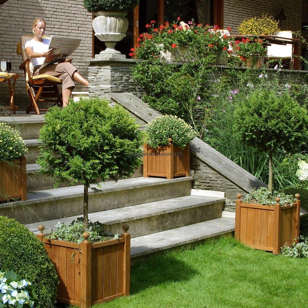terrasse bois jardiniere diverses id es de conception de patio en bois pour votre. Black Bedroom Furniture Sets. Home Design Ideas