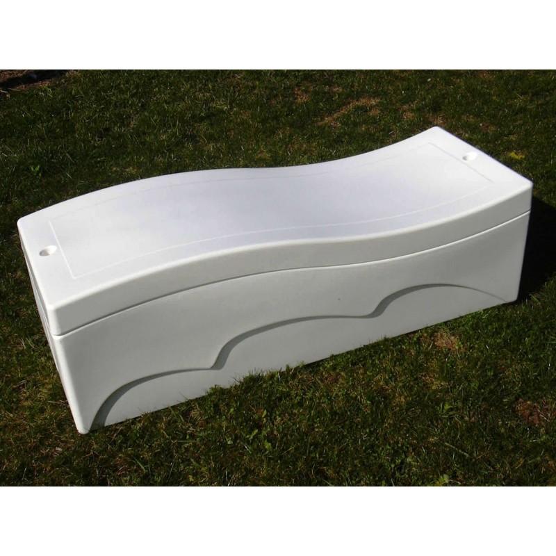 banc coffre de jardin rangement 250 l blanc. Black Bedroom Furniture Sets. Home Design Ideas