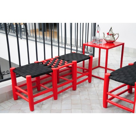 tabouret marocain deux places rouge. Black Bedroom Furniture Sets. Home Design Ideas