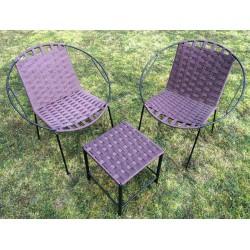 Tabouret bas et fauteuils situation violet