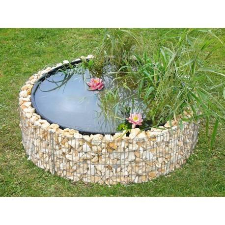 Bassin de jardin en acier rond gabion 146 x 146 x 40 cm avec galets