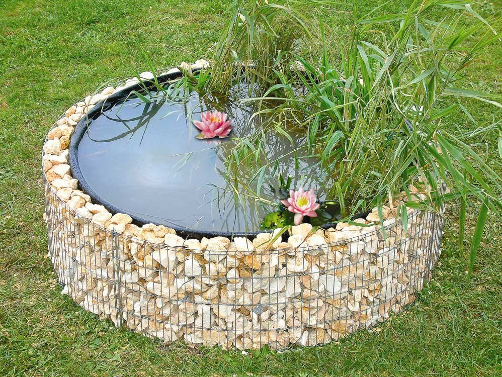 Gabion bassin 146 avec galets for Decoration jardin gabion