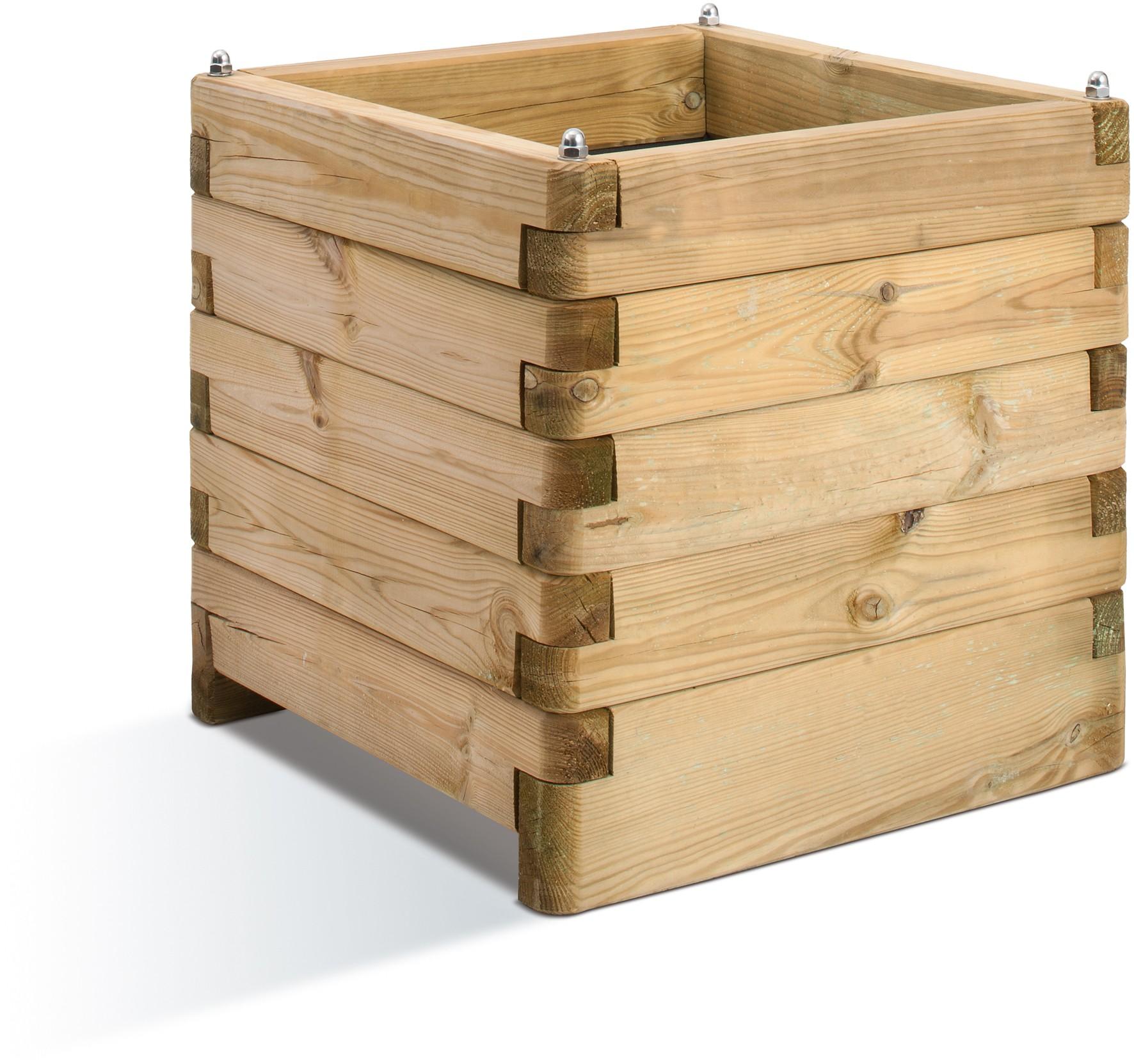 Jardini re en bois carr e ol a 50 x 50 x 50 cm - Jardiniere en bois sur pied ...