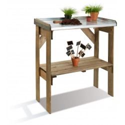 Table De Préparation Bois et Zinc 2 Niveaux