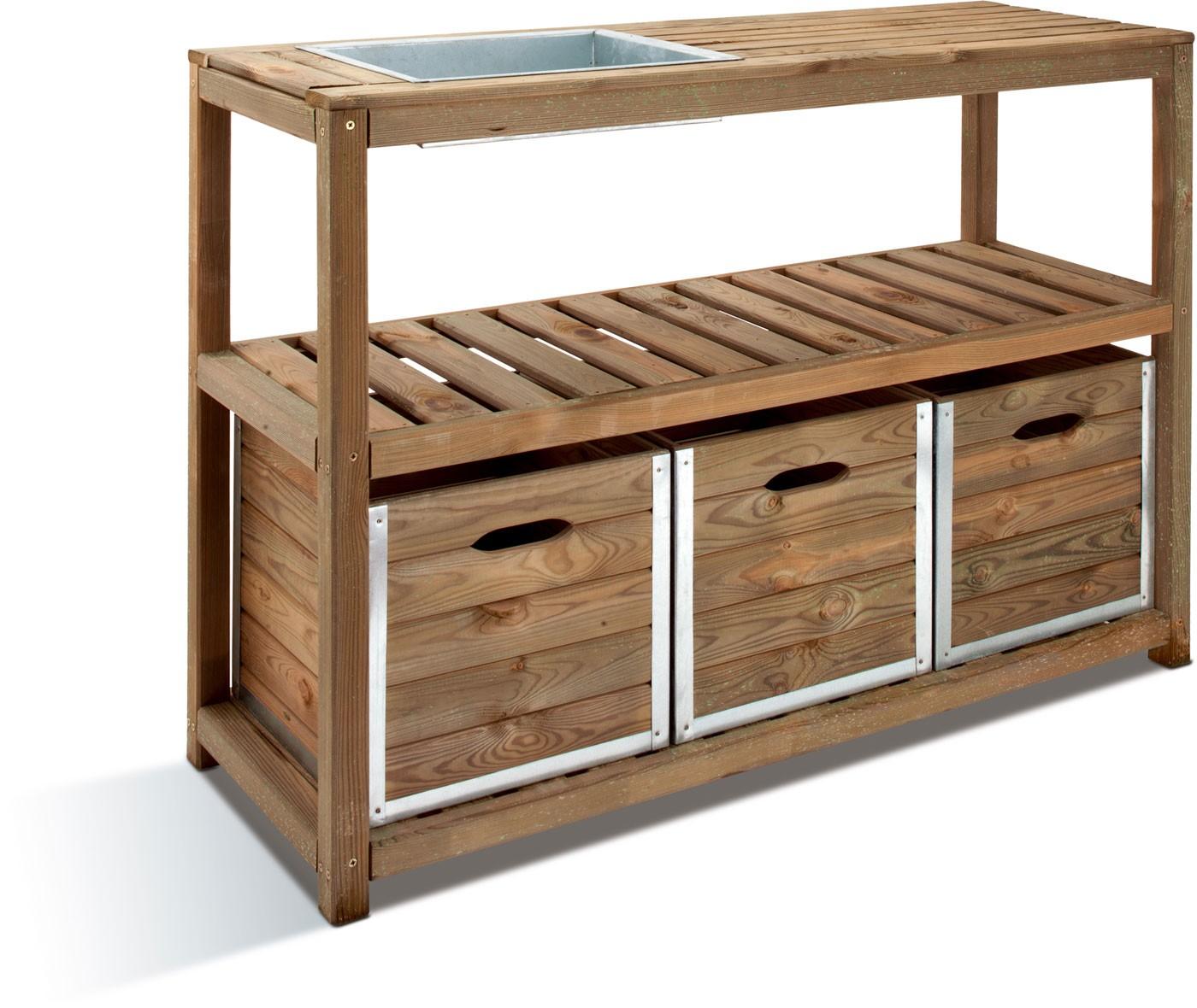 table de pr paration bois avec bacs. Black Bedroom Furniture Sets. Home Design Ideas