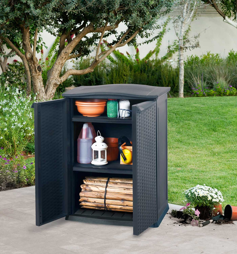 armoire rangement plastique 250 l anthracite. Black Bedroom Furniture Sets. Home Design Ideas