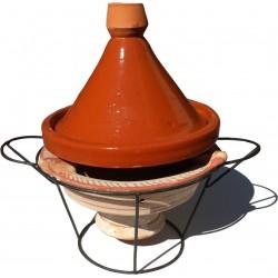Plat tajine de cuissin en terre cuite 29 cm et son brasero H.19,5 cm