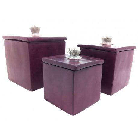 Boîte à coton carrée ensemble aubergine