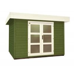 Abri de jardin bois 7 m2 toit plat d'épaisseur 28 mm, de 2,95 x 2,40 m