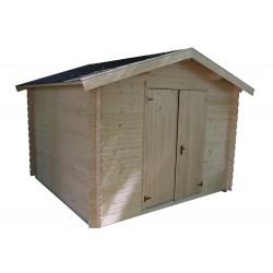 Abri de jardin bois 7,8 m2 d'épaisseur 28 mm, de 2,80 x 2,80 m