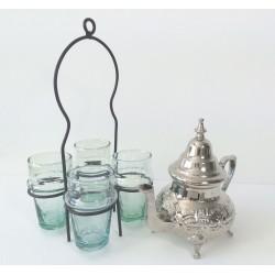 Théière marocaine avec pieds et verres