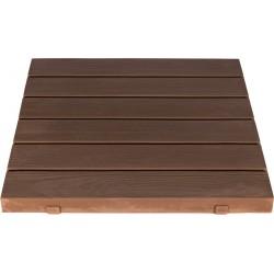 Dalle de terrasse en pierre reconstituée aspect bois 45 x 45 x 3,5 cm marron