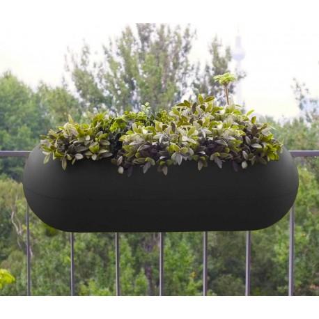 Jardinière en polyéthylène rectangulaire Balconismo 78 x 34 x 25 cm noir