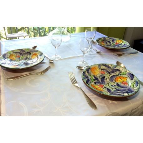 Assiette céramique bleu clair situation
