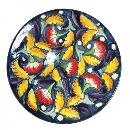 Assiette plate en céramique Ø : 25 cm bleu foncé