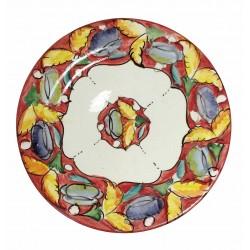 Assiette plate en céramique Ø : 25 cm rouge clair