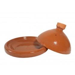 Plat tajine terre cuite vernissé 27 cm ouvert