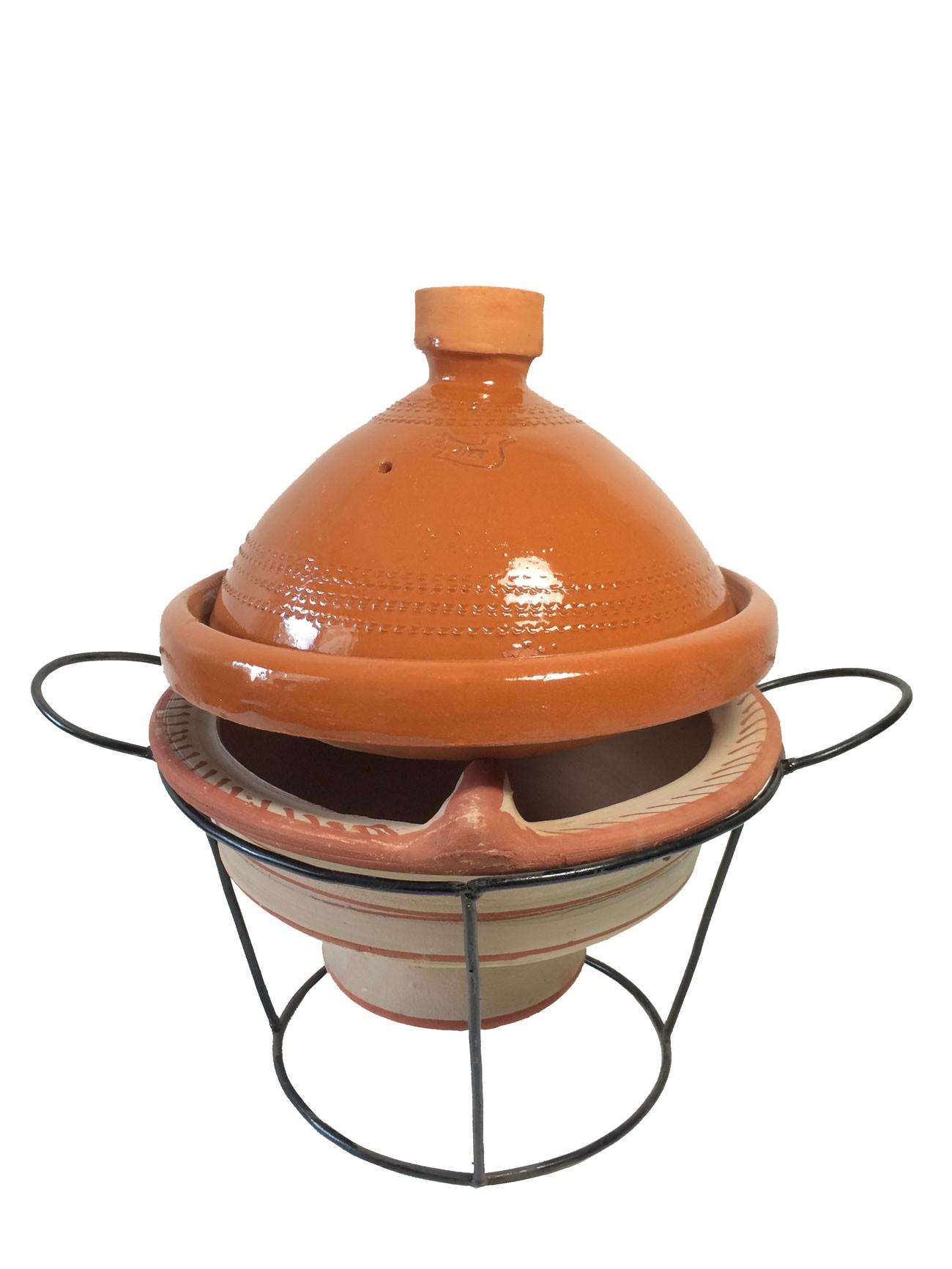 Plat tajine en terre cuite verniss 27 cm et son brasero h - Tajine en terre cuite ...
