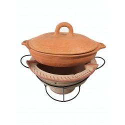 Plat tajine terre cuite tagra ovale et son brasero H.19,5 cm