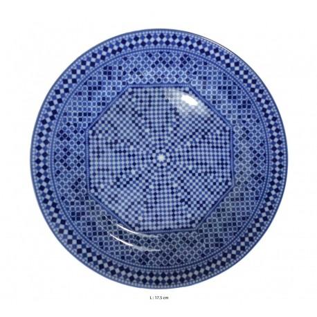 Assiette plate ronde en porcelaine Ø : 17,5 cm bleue