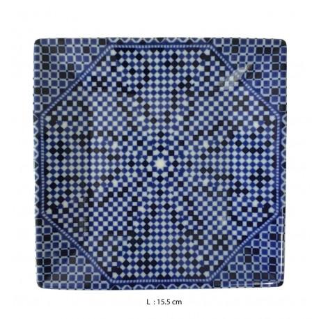 Assiette plate carrée en porcelaine 15,5 x 15,5 cm bleue