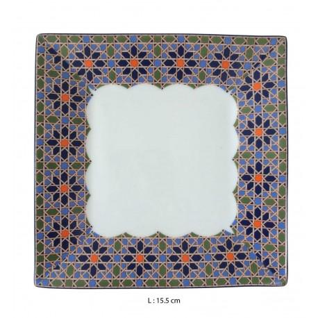 Assiette porcelaine carrée blanche