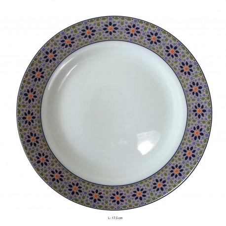 Assiette porcelaine blanche ronde 17.5 cm