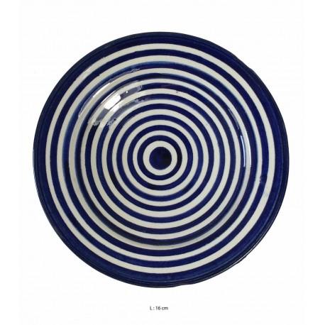 Assiette creuse ronde en céramique Ø : 16 cm bleue et blanche