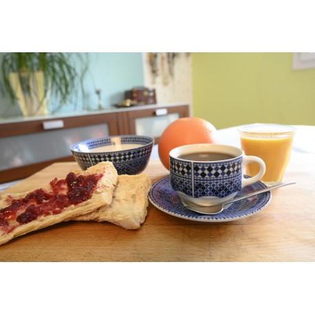 Tasse pour petit déjeuner en porcelaine 15 cl, bleue