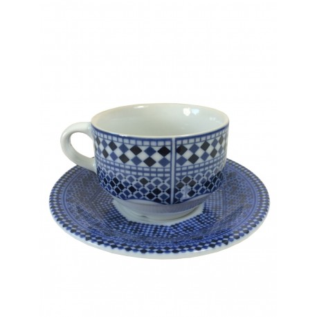 Tasse à café 15 cl bleu et sa sous-tasse
