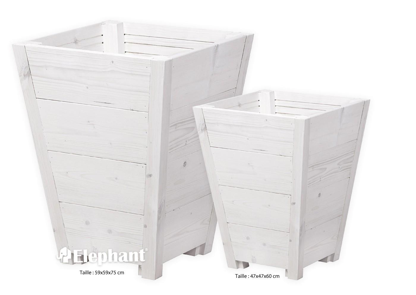 jardinière en bois conique blanchi vaso 47 x 47 x 60 cm