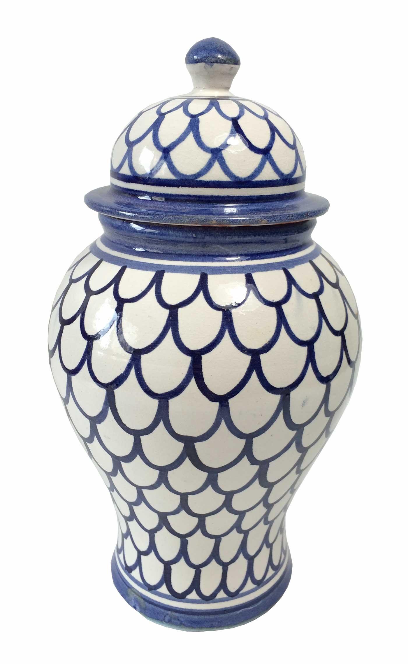 achat pot pharmacie vase bleu et blanc en c ramique. Black Bedroom Furniture Sets. Home Design Ideas
