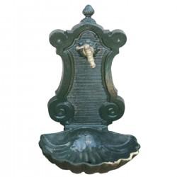 Fontaine de jardin en fonte Coquille 47 x 40 x 92 cm vert