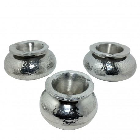 Cendriers boules aluminium martelé