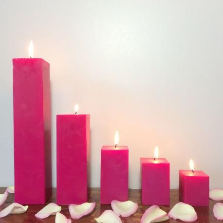 Lot de bougies parfumées carrées fuchsias