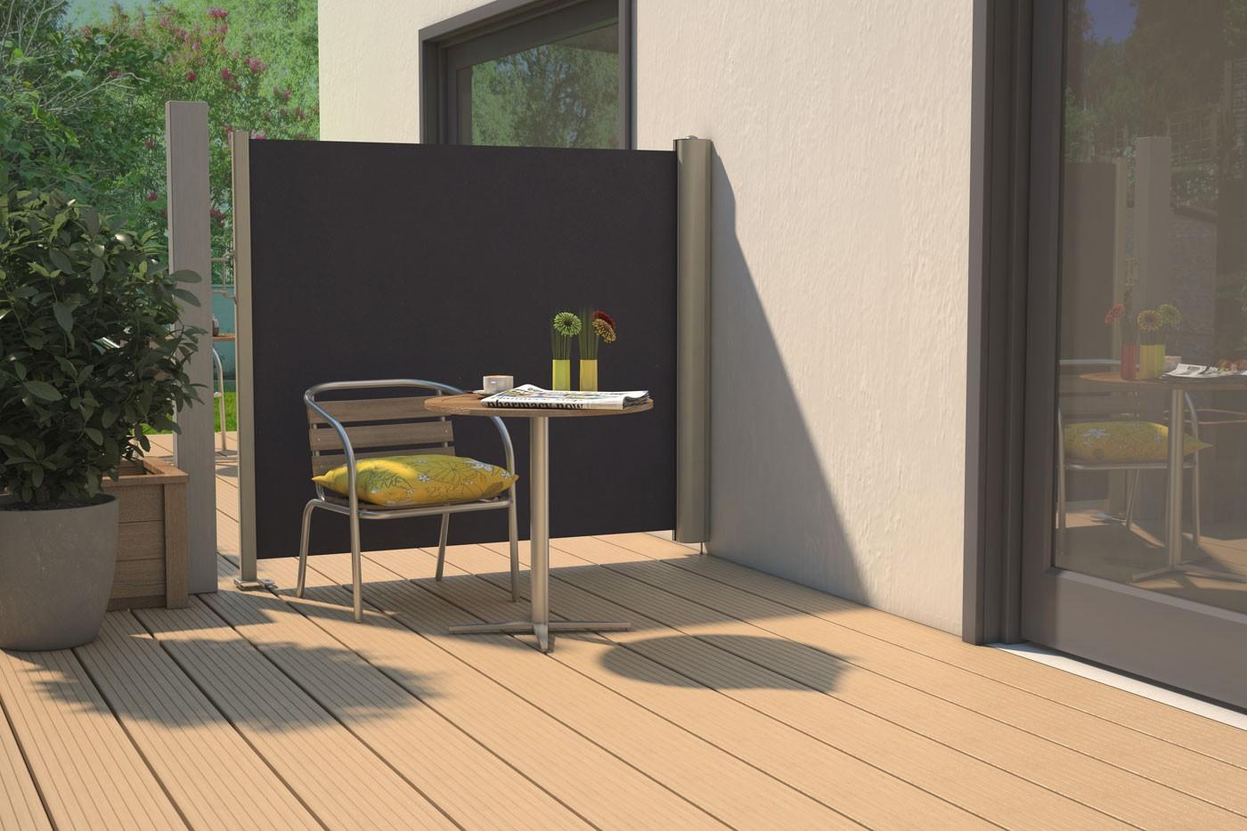 Jeune Store latéral rétractable de terrasse en PVC gris anthracite 300 x SF-87