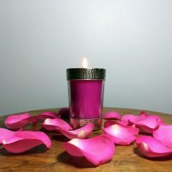 Bougie décorative en verre rose