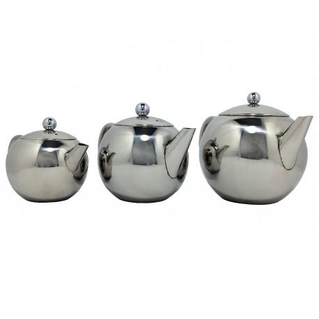 Théière inox forme ronde 3 modèles