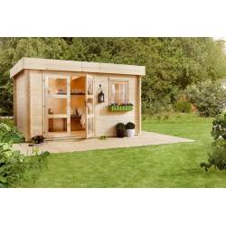Abri de jardin toit plat 8,15 m2 d'épaisseur 28 mm, de 3,40 x 2,50 m