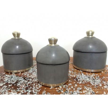 Accessoires de salle de bain tadelakt ensemble gris