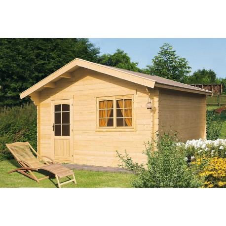 Abri de jardin bois 14,75 m2 d'épaisseur 28 mm, de 3,90 x 3,90 m